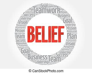 BELIEF circle word cloud
