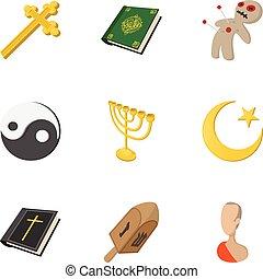Beliefs icons set, cartoon style - Beliefs icons set....