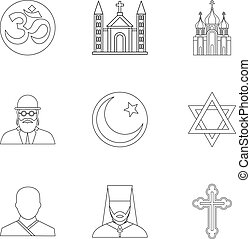 Beliefs icons set, outline style