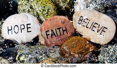 believe., 岩, 信頼, 希望
