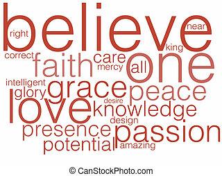 A word cloud describing belief or believing.