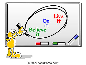 Believe, do, live it - motivational concept on whiteboard