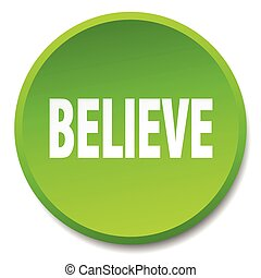 believe green round flat isolated push button