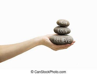 Believe, hope and love - Optimistic slogan, pushes anti...