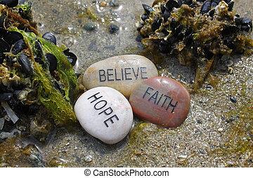 believe, hope, faith rocks