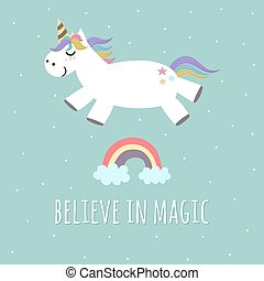 Believe in Magic poster, greeting card with cute unicorn and rainbow