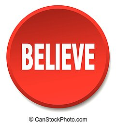 believe red round flat isolated push button
