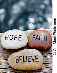 believe., rotsen, geloof, hoop