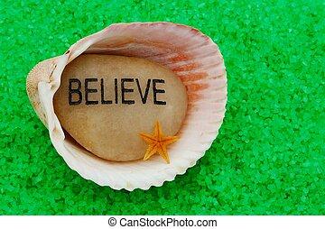 Believe Stone in Seashell