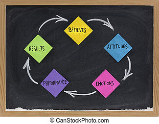 believes, attitude, emotions, performance, results feedback cycle - concept presented with colorful sticky note and white chalk on blackboard