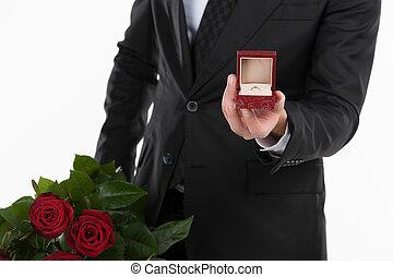 beliggende, æske, mænd, me!, baggrund, imod, image, ansættelsen, inderside, klippet, roser, mens, ægt, holde, tøjsæt, ring, åbn, hvid, bundtet