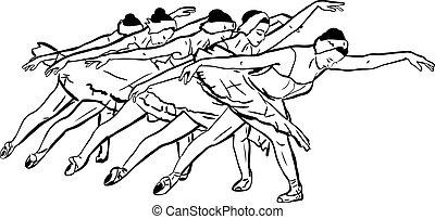 beliggende, ballerina, skitse, positur, pige