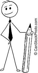 beliggende, blyant, begrebsmæssig, cartoon, forretningsmand