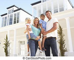 beliggende, familie, unge, udenfor, hjem, drøm