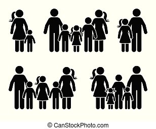 beliggende, figur, familie, stor, sammen, pind, ikon