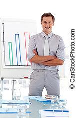 beliggende, foran, klasse, firma, lærer