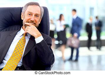 beliggende, hans, kontor, firma, succesrige, baggrund, mand, stab