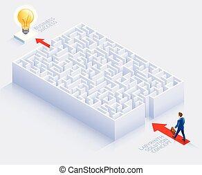 beliggende, illustration., firma, labyrint, løsning, vektor, begrebsmæssig, forretningsmand, design.