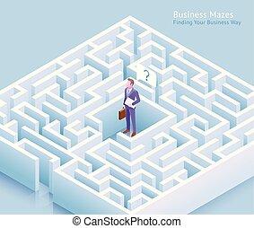 beliggende, illustration., firma, labyrint, tænkning, vektor, design., vej, labyrint, grundlægge, forretningsmand, begrebsmæssig, ydre
