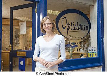 beliggende, indgang, kvinde, optometrists, forside, smil