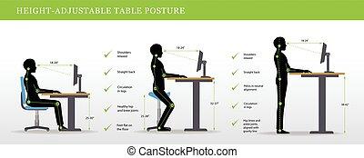beliggende, indstille sig, skriveborde, postures, højde,...