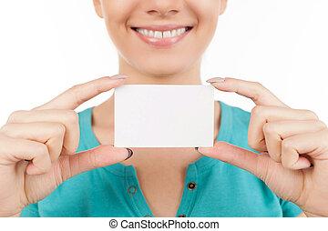 beliggende, kvinde, card., firma, image, isoleret, klippet, unge, mens, hende, holde, smil, hånd, hvid, card