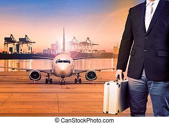 beliggende, last, transport, firma, breifcase, imod, flyvemaskine, baggrund, mand