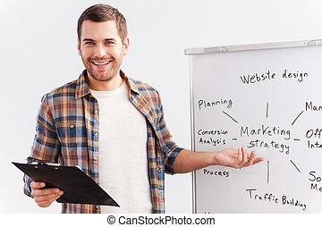 beliggende, omkring, pege, tales, whiteboard, unge, det,...