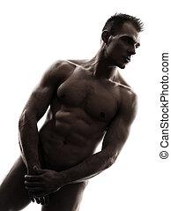 beliggende, silhuet, muskuløse, nøgne, portræt, mand, pæn