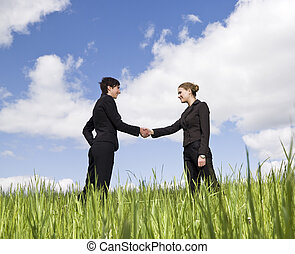 beliggende, to hænder, græs, ryse, kvinder