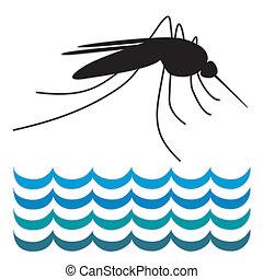 beliggende, vand, myg