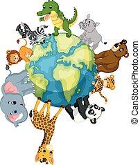 beliggende, vild, omkring, dyr, verden
