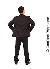 beliggende, waist., forretningsmand, læg, hånd