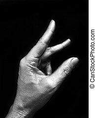 beliscão, prata, dedos