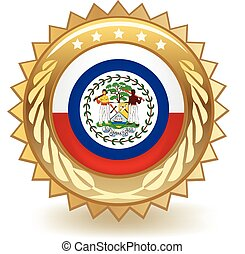 Belize Badge - Gold badge with the flag of Belize.
