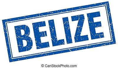 Belize blue square grunge stamp on white