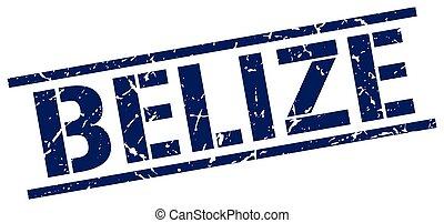 Belize blue square stamp