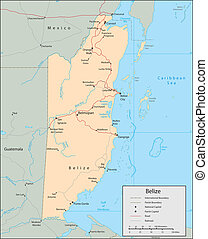 Belize - Vector map. Marked geographical and topographical...