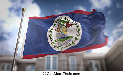 Belize Flag 3D Rendering on Blue Sky Building Background