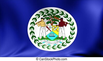 Belize Flag. Background Seamless Looping Animation.