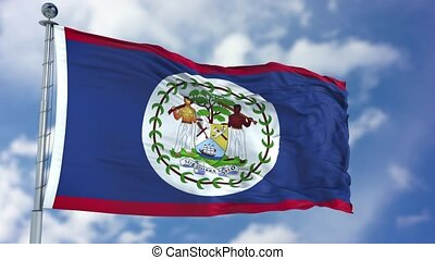 Belize Flag in a Blue Sky