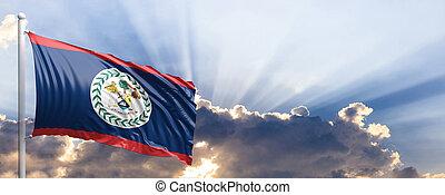 Belize flag on blue sky. 3d illustration