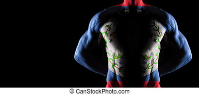 Belize flag on muscled male torso with abs