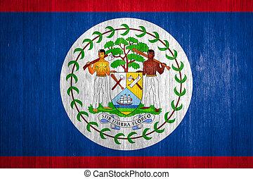 Belize Flag on wood background