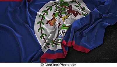 Belize Flag Wrinkled On Dark Background 3D Render