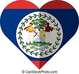 Belize heart flag - Vector image of the Belize heart flag