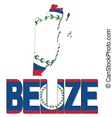 Belize map flag and text