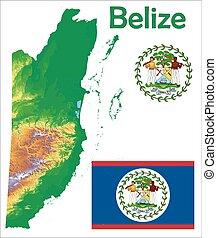 Belize map flag coat