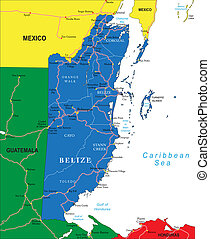 Belize map - Highly detailed vector map of Belize with...