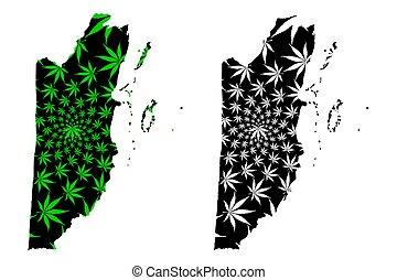 Belize - map is designed cannabis leaf